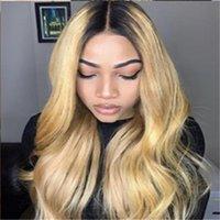Perruques de fermeture de dentelle non génératrice 13x4 ombre cheveux humains pour femmes revenus brésilien front beauté