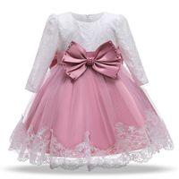 Girl's Dresses Kids Baby Girls Clothes Infant Wear 1st Birthday Big Bowknot Lace Tutu Pettiskirt Party Formal Princess Dress Pearl Headbands 2Pcs B5606