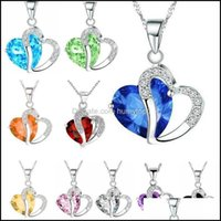 & Pendants Jewelry10 Colors Luxury Austrian Crystal Necklaces Women Rhinestone Heart Shaped Pendant Sier Chains Choker For Ladies Fashion Je