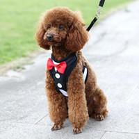 Dog Collars & Leashes Chest Harnesses Lead Leash Strap Belt For Pet Velvet Bowtie Gentleman Suit Boy Tuxedo Easy Walk Harness Vest Cat Puppy