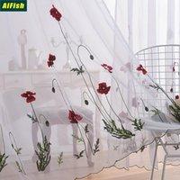 Beyaz Sheer Işlemeli Kırmızı Çiçek Perdeleri Tül Oturma Odası Için Klasik Basit Pastoral Pencere Perdelik Yatak Odası Kumaş Valance Perde Dr