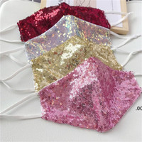 Fashion Bling 3D Washable Reusable Mask PM2.5 Face Care Shield Sun Gold Elbow Sequins Shiny Face Mount Masks for PM2.5 LLF8993