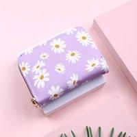 Card Holders Women Cute Small Daisy Holder Case Credit 11 Bits Zipper Wallet Girl ID Bank Purple yellow Blue Black Red