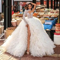 Ivory One Shoulder Long Sleeves Formal Evening Dresses 2021 Sparkly Sequins Tired Train Plus Size Prom Pageant Party Gowns Vestidos De Novia