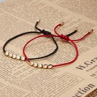Charm Bracelets Tibetan Buddhist Braided Cotton Copper Beads Bracelet For Women Men Fashin Handmade Lucky Red Rope Jewelry Gift