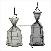 Sports & Outdoorsfoldable Landing Net Portable Fishing Round Folding Cage For Fish Shrimp Crab Aessories Drop Delivery 2021 Lmg52