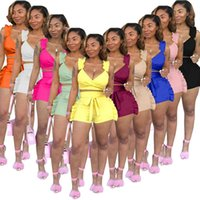 Sommer Womens Trainingsanzüge 10 Farben Designer Rüsche V Backless Sexy Sleeveless Shorts Zwei Teile Sets Mode Solide Farbe Outfits 8658