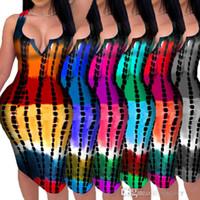 Женщины MIDI Платья Лето 2021 Дизайнер Сексуальная V-образная выречка Повседневная простая полосатая напечатанная платье без рукавов жилет без рукавов короткая юбка