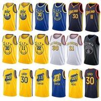 Vintage Stephen 30 köri şehir basketbol forması altınDurumSavaşçılarErkekler James 33 Wiseman Klay 11 Thompson Kolsuz Mavi Beyaz Spor Gömlek