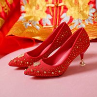 Lucyever Spring Summer Crystal Wedding Shoes Woman Pumps Sexy Ladies High Heels Fashion Party Women Thin Red 5cm 7cm 210624