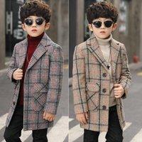 معطف صوفي للأطفال 4-11 سنة الأولاد خندق الفتيان منقوشة معطف خارج القطن الأطفال معطف القطن والكتان 792 v2