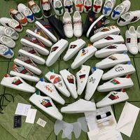 2021 Neue Designer Luxus Frauen Männer Casual Schuhe Italien Marke Ace Gelenkreihe Gedruckt Bestickte Sneakers Niedrige Top Streifen Leinwand Gurtband Leder Pasping Schuh A1