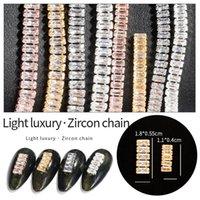 Nail Art Decorations 1pc Claw Chain Metal Zircon Fashion Square Crystal Alloy Ring Buckle DIY Rhinestone Salon Supply Tools