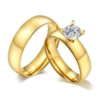 Gold Silver Wedding Bands Ring for Women Men Jewelry Titanium Steel Zircon Engagement Ring Anniversary Gift