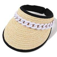 Wide Brim Hats Uv Protection Womens Cap Fashion Summer Straw Beach Open Top Hat Chain Sun Visors Baseball Golf Hiking Gardening