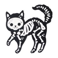 Creative Personalized Skull Cat Shaped Brooches Cartoon Animal Kitty Enamel Pins Alloy Brooch for Girls Denim Shirt Badge Jewelry Gift Friend Bag Accessories