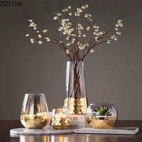 Vazolar yaratıcı cam vazo yaldızlı altın taban kurutulmuş çiçek aranjmanı oturma odası ofis mobilyaları ev dekorasyon modern