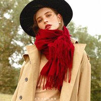 Thickened wool scarves for women to keep warm in autumn and winter, pure color gray long dual-use scarf, Korean version of wild shawl red