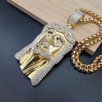 Хип-хоп Стразы, асфальтированные Bling leced out out золотой цвет нержавеющая сталь Иисус кусок кулон ожерелье для мужчин рэпер ювелирные изделия1 426 q2