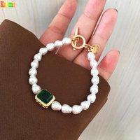 Бисером, пряди КШМИР Ретро Имитация Барокко Нерегулярный жемчужный браслет, Геометрический металл 2021 женский зеленый стеклянный браслет
