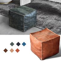 Moroccan PU Leather Pouf Embroider Craft Simple Sofa Ottoman Footstool Large 45cm Artificial Leather Unstuffed Cushion 210611