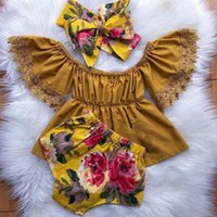 Clothing Sets 3PCS Toddler Kids Baby Girls Clothes Lace Tops Skirt+Floral Pants Summer Outfits