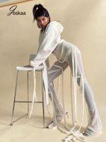 Joskaa sexy 2021 mulheres malha ver através de calças de renda alta cintura alta bandagem de legging outono calças femininas festa clubwear mulheres capri mulheres