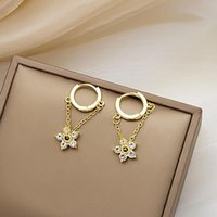 Hoop & Huggie 2021 Super Flash Chain Flower Rhinestone Earrings All-match Exquisite Small And Simple Ear Buckle Ring