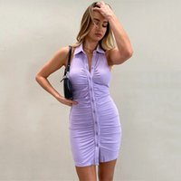 European and American women's 2021 spring and summer new dress sexy open back sleeveless single breasted cardigan hip skirt