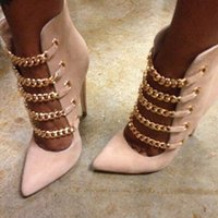 Handmade Ladies High Heels Dress Shoes Chains Pointed-toe Sexy Evening Party Prom Pumps Shoes Large Size Evening Fashion Court Shoes D490