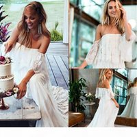 2019 Vintage Full Lace Bohemian Wedding Dresses Boho Country Off Shoulder Long Sleeve Backless Custom Wedding Dress Bridal Gowns Cheap