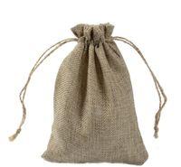 الحقائب، التعبئة والتغليف عرض jewelry7x9 سنتيمتر 9x12 سنتيمتر 10x15 سنتيمتر 13x18 سنتيمتر اللون الأصلي البسيطة الجوت حقيبة الكتان القنب مجوهرات هدية الحقيبة dstring أكياس