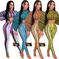 Women Designer Tracksuits Digital Print Striped Arm Drawcord Open Belly Fashion Sexy Two Piece Outfit