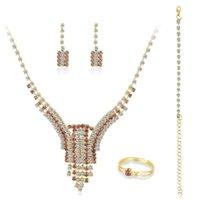 Earrings & Necklace 10pcs lot Luxury And Elegant Bridal Melange Rhinestone Ring Bracelet Engagement Jewelry Set