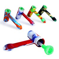Silicone Pipe Small hammer shape Dry Burning Pipes No Bag Silicones Smoking Set Hookah Accessories