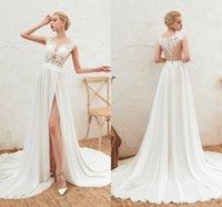 Sexy Beach Wedding Dresses Bridal Gowns Lace Appliqued Side Split Fashion Elegant