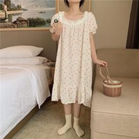 Women's Sleepwear Women Nightgowns Floral Print Lacework Short Sleeve Summer Sleepdress White Pink Loose Midi Dress Home Clothes Cotton Line