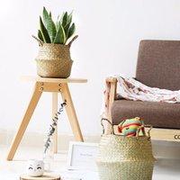 Cesta de armazenamento de bambu flor dobrável potenciômetro mão tecida cestas multifuncional lavanderia palha colagem de vime jardim suprimentos DHF8889