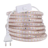 Tiras AC220V LED tira luz 3014 SMD 120led / m ao ar livre à prova d 'água ip67 fita corda luzes decoração de casa branca / quente