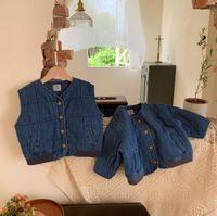 Jackets 2021 Wholesale Girls Boys Thicken Denim Coat Winter Cotton Full Sleeve Kids Jacket 2-8 Years WD328