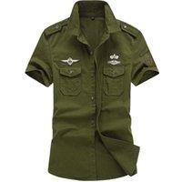 Camisetas Camisa de hombre de verano Uniforme militar Algodón de algodón de manga corta de los militares