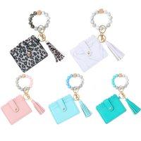 Girls Purse Kids Purses Bags Children Accessories Silicone Bracelet Keychain Ring Beads Leopard B8150