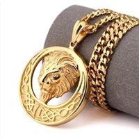 Runde Form Vergoldet Hip Hop Charm Halskette Lion Punk Pendant Kette Schmuck Für Männer Frauen Zubehör Geschenk Halsketten