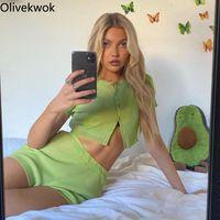 Kadın Eşofman OliveKwok 2021 Yaz Kadın Kısa Setleri Kol Moda Seksi Katı Eğlence İki Parçalı Suit Sokak Gece Kıyafetleri