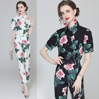 Dropshipping Spring Summer Fall Two Pieces 2pcs Womens Ladies Casual Sets Vintage Floral Print Collar Short Sleeve Top Shirt Blouse Pants Suit Outfits