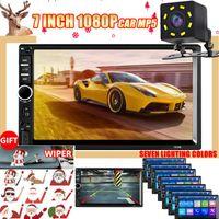 Video de automóvil 2 Radio DIN Bluetooth 7 pulgadas Estéreo FM Audio MP5 Player SD USB con cámara de navegación GPS para Android 2din 1 + 16g