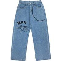 Women's Jeans Harajuku Female Vintage Wash Women Fashion Chain Loose High Waist Cartoon Print Casual Trousers