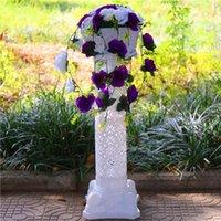 Dekoratif Çiçekler Çelenkler Düğün T İstasyonu Koridor Koşucu Centerpieces Props Yapay Gül Çiçek Ile Hollow Roma Sütun Etkinlik için Set