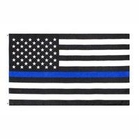 Fahnenflaggen Direkte Fabrik Großhandel 3x5FTs 90cmx150cm Gesetz Vollstreckungsbeauftragte USA US-amerikanische Polizei dünne blaue Linie Flagge