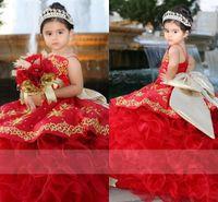 Goud geborduurd quinceanera jurken mini kleine peuters grote boog bal toga ruche diamands spaghetti strapless pageant bloem meisje jurk Mexicaanse bruiloft